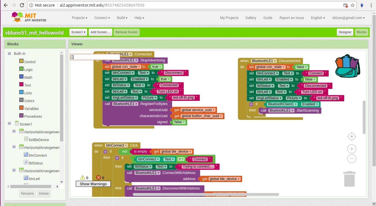 Sử dụng MIT App Inventor viết phần mềm Android kết nối thiết bị qua